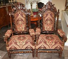 Pair Of French Antique Upholstered Renaissance Barley Twist Carved Arm Chairs