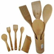 5Pc Bamboo Wooden Utensil Set Cooking Kitchen Tools Holder Spoon Turner Cutlery