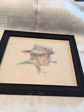 Vtg Realist Western Cowboy W/pipe Portrait Pencil Tinted Framed Artist Signed #8