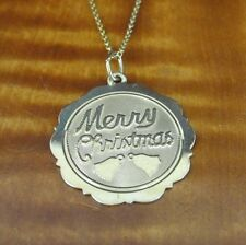 Merry Christmas Gold Vermeil over Sterling Silver Pendant NECKLACE