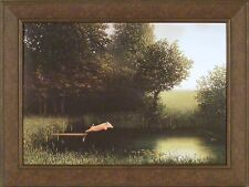 DIVING PIG by Michael Sowa 25x33 Kohler's When Pigs Fly Lake Dock FRAMED PRINT