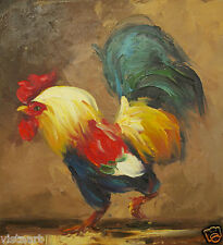 "High Quality Oil Painting On Stretched Canvas 8""x10""-Colorful Rooster"