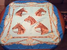 "Vintage Silk LILO HORSE Large 35"" sq SCARF in Shades of Blue Turquoise"