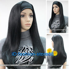 Lady Long Straight 3/4 Half Wig Hair With Head Band Silky Black Natural wigs
