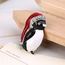 Christmas Rhinestone Cute Penguin Brooch Pin Xmas Gift Party Decoration EA