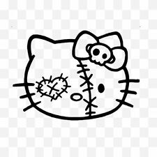Funny HELLO KITTY ZOMBIE FACE Vinyl Decal Sticker for Car Window Motorbike Black