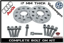 2Pc (17 mm) Audi Volkswagen Hub Centric Wheel Spacers 5x100 5x112 /10 Ball Bolts