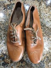 Lace Up  Leather Oxfords Womens 7 Vintage Retro Flats 80's