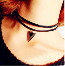 Vintage Gothic Double Cord Leather Choker Charm Triangle Pendant Bib Necklace