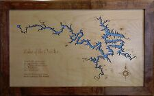 Wooden 2D Cut, Engraved LAKE OF THE OZARKS,MO Map Framed WALL ART laser engraved