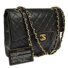 Auth CHANEL Double Flap Quilted Chain Shoulder Bag Black Leather Vintage AK08961