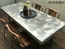 Polished concrete patio table outdoor two tone dark, light grey industrial look