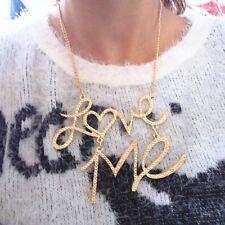 New Fashion Popular Shiny Simple Letter Love Me Pendant Choker Bib Necklace