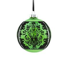 Disney Parks Haunted Mansion GHOST Wallpaper Green Glass Ball Ornament NWT New