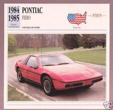 1984-1985 Pontiac Fiero Red Sports Car Photo Spec Sheet Info Stat French Card