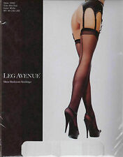LEG AVENUE - Sexy Sheer Stockings with Retro Backseam - One Size - WHITE  BNIP