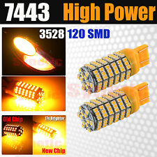 2X 7443/7440 Amber Yellow 120 SMD LED Turn Signal Blinker Parking Lights Bulbs