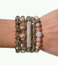 WOMENS SILVER RHINESTONE BAR GRAY CORAL PEACH BEAD FASHION BRACELET JEWELRY GIFT