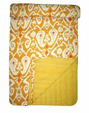 Ikat King Size Kantha Quilt Cotton Throw Reversible Bed Cover Blanket