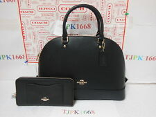 2 Pc Set COACH~Black~Crossgrain Sierra Leahter Satchel F37218 + Wallet