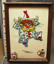 WALLACE TRIPP embroidery Clown Mouse circus picture w/ pinbacks Pawprints OG