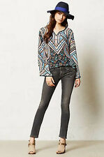 NIP Anthropologie TOLANI Ethnic Mandala Lunation Peasant SILK S BLUES Top Blouse