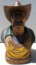"Cowboy Bust, Hand Carved Wood, 25"" tall, sns112"