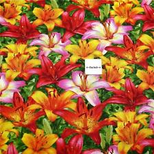 Cotton Fabric Per Yard, Floral, Bright Red & Gold Lillies, South Seas Imports