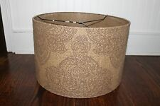NEW Pottery Barn Serrano Medallion Straight Sided Drum Lamp Shade Burlap LARGE