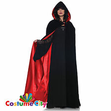 Adult Gothic Hooded Halloween Fancy Dress Party Red Satin Black Velvet Cape