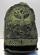 "Backpack Celtic TREE OF LIFE 18"" x 16"" Indian Cotton Drawstring Wiccan Tote NEW"