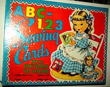 1952 Saalfield Publishing Co. A,B,C-1,2,3 Sewing Cards w/Pictures to Color