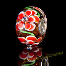 ORIGINAL MASSIV 925 SILBER MURANO GLAS SEALIFE BEAD ORANGE ZIRKONIA + GESCHENK