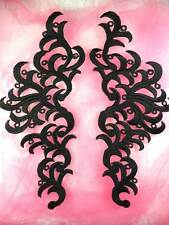 GB371 Embroidered Applique Black Scroll Mirror Pair Patch Sewing Crafts DIY 11.5