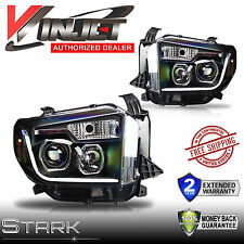 14-16 TOYOTA TUNDRA LED Light DRL Headlights Head Lamps BLACK / CLEAR - Pair