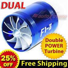 For MITSUBISHI Air Intake Dual Fan TURBO Supercharger Turbonator Fuel Saver BLUE