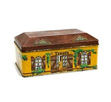 """VINTAGE HOUSE SHAPED CHOCOLATE TIN """"TREETS"""" COTTAGE STYLE WITH SHUTTER WINDOWS"""