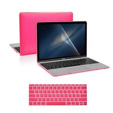 "3 in 1 Hot Pink Crystal Case + Keyboard Cover + LCD for Macbook 12"" Retina A1534"