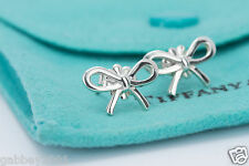 Tiffany & Co. Sterling Silver Ribbon Bow Stud Earrings w/ Pouch
