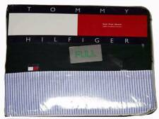Mens Tommy Hilfiger Full Size Flat Sheet Forest Green With Blue and White Stripe
