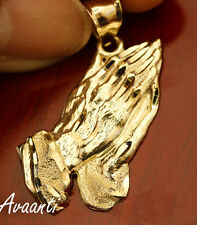 Real 10k Gold Praying Hands Diamond Cut Design Pendant Charm Piece