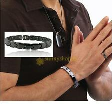 Black Stainless Steel Ceramic Magnetic Therapy Power Mens Women Bracelet Gift
