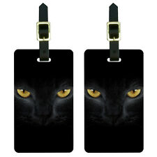 Black Domestic Cat Gold Eyes Luggage Suitcase Carry-On ID Tags Set of 2