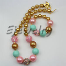 Small Gold Pearl Rhinestone Beads chunky Bubblegum necklace&bracelet set CB761
