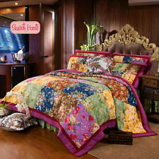 American Country Style C Patchwork Bedspread Quilt 3pc Set Queen+ Ling's Gift