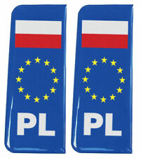 2x Poland (PL) EU Blue - Gel Domed Number Plate Badges/Decals 107x42mm