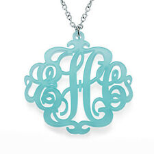 Acrylic Monogram Necklace with Closed Chain - Personalized (USA Seller)