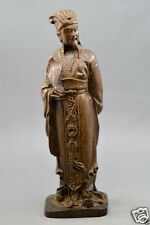 Chinese agalloch eaglewood wood antique hand-carved statue Liang zhuge