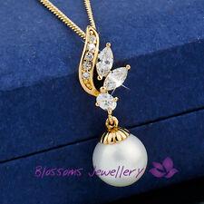 9K 9CT GOLD GF Flower Shell Pearl NECKLACE SWAROVSKI Lab DIAMOND ES562 WEDDING
