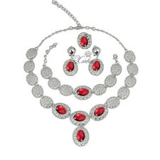 Silver / Gold Plated Wedding Jewelry Sets Zircon Pendant Necklace Earrings Set